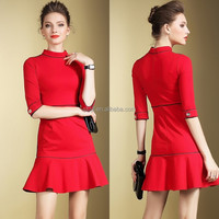Good quality garment factory low price women short dress bright color with fishtail design red dress boutique