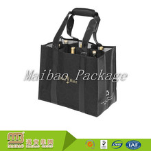 Heavy Duty Non Woven Tote Carry Customized Logo Printing Reusable Divided 4 Bottles / 6 Bottle Wine Bag