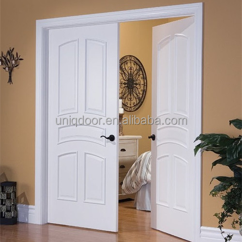 Interior solid wood 5 panel craftsman style double swing doors for bedroom