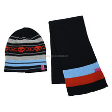 2015 2015 Cold Weather Hat and Scarf Acrylic Jacquard Striped Knitted Hat Scaf Set skull designs
