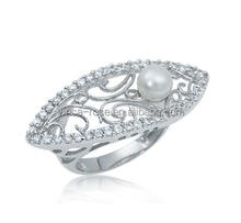 Hot sale fresh water pearl jewelry silver ring