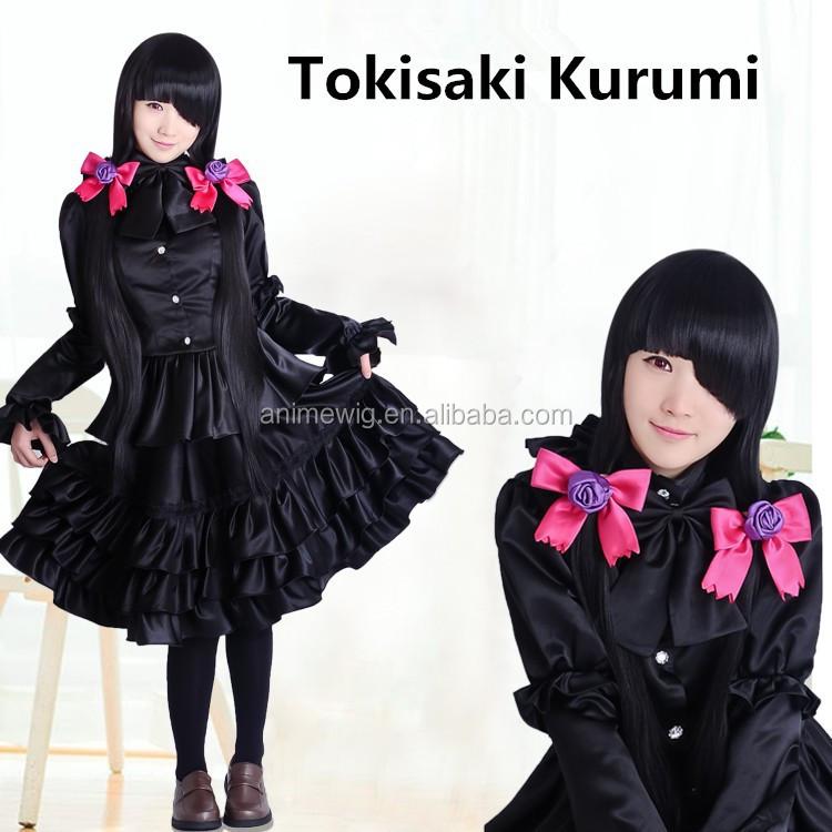 Date A Live Kurumi Tokisaki Cosplay Costume Black Gothic Dress Free Shipping