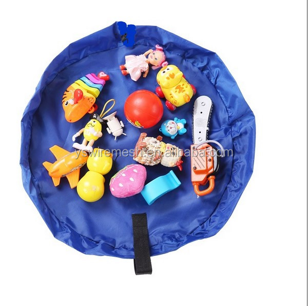 "18"" Round Kids' Room Rug/Toys Organizer Play Bag/Cotton Anti-slip Blue Color Children's Floor Play Game Mat With Drawstring"