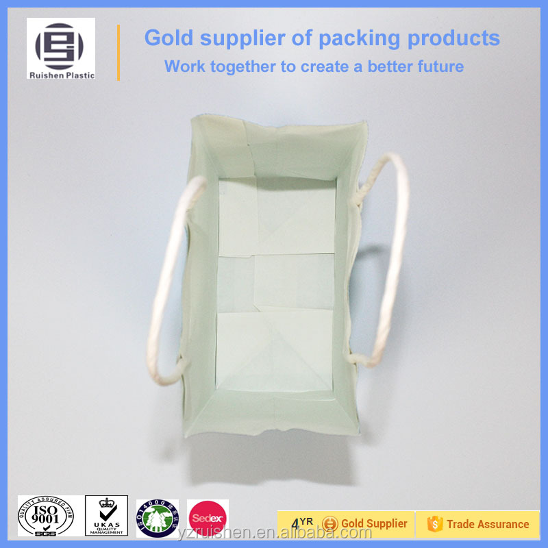 Sky blue paper bags with handles wholesale for shopping