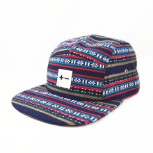 Striped Cotton Fabric Flat Brim Snapback Cap