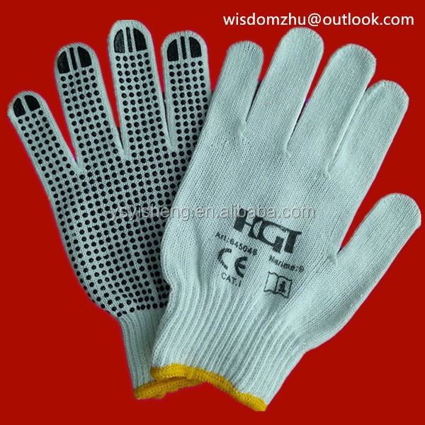 rubber cotton dot gloves with CE Certificate
