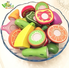 Wholesale fake Fruits and vegetables pretend play toy wooden cut kids toys