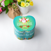 Merry Christmas Design Green and Blue Theme Apple Shape Tin Box