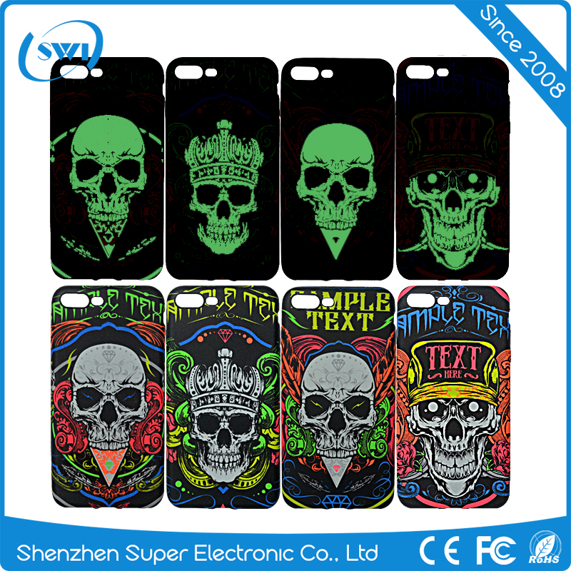Fashion luminous skull pattern design soft tpu case for iphone 7plus