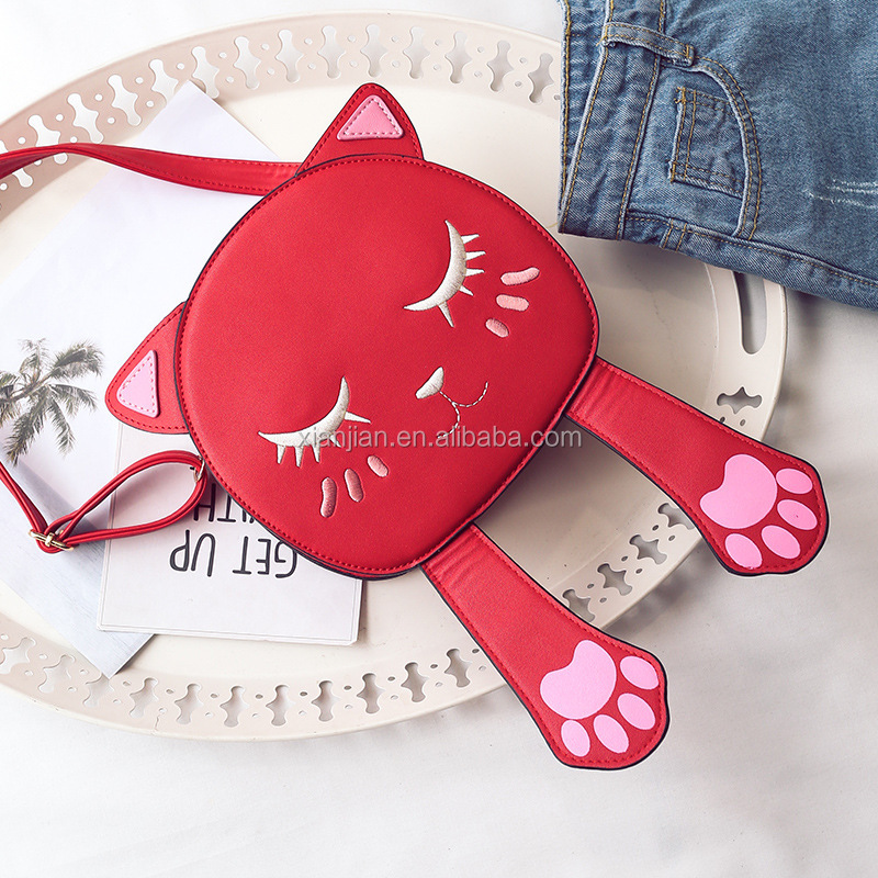 New Hot Sweet Lovely Cartoon Cat Women Mini Classic Personality Embroidered Single-shoulder Crossbody Handbag