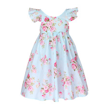 Summer Flower Printed baby girl dresses Kids clothing