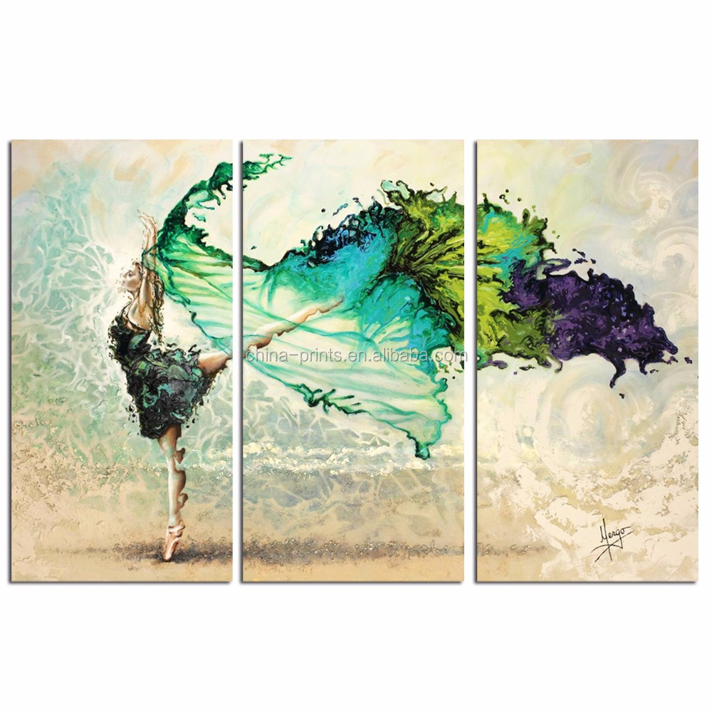 3 Pieces Dancing Girl Canvas Print/Beautiful Woman Canvas Wall Art/Contemporary Home Decor Canvas Painting
