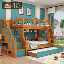 6226#Hot selling kids double deck bed with classical warmly ladder and booksheklf bunk bed