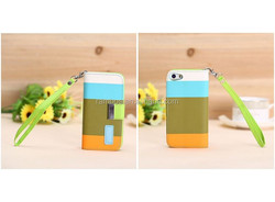 New design Card Slot Flip Stand Wallet mixed Color PU leather Case for iphone 4 4s