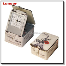 Fashion printing PU Leather Wooden Table Alarm Clock with jewelry box