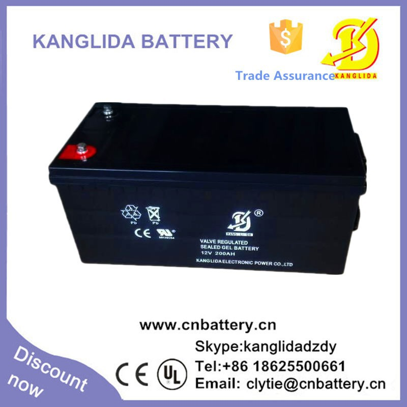 Kanglida 12v 200ah deep cycle 24v 200ah sealed lead acid battery