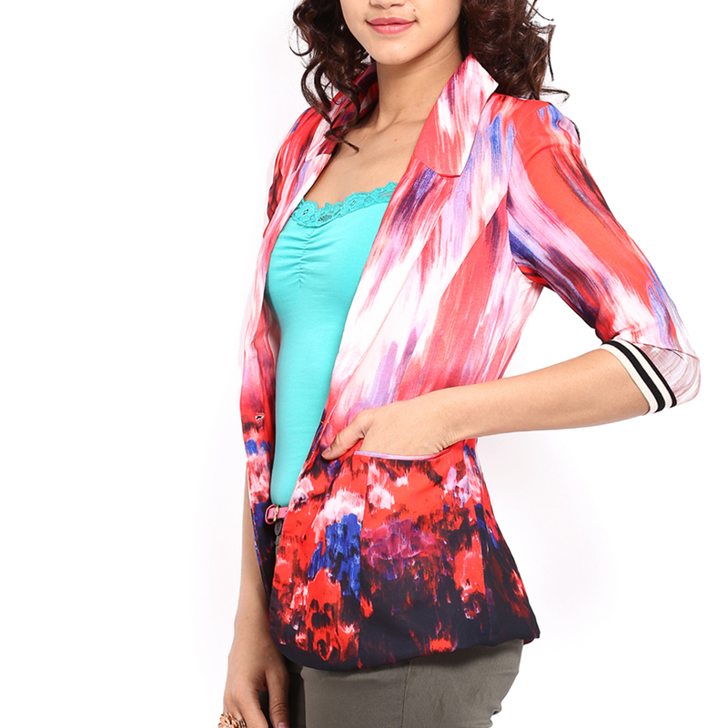 women multicoloured printed slim fit single breasted with a button blazer jacket