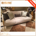 Luxurious Italian Designer's Wood Veneer and Fabric Upholstered Combined Three Seater Sofa with 24K Gold Plated Legs