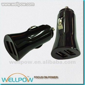 new design 2 port mini usb car charger 2.0a