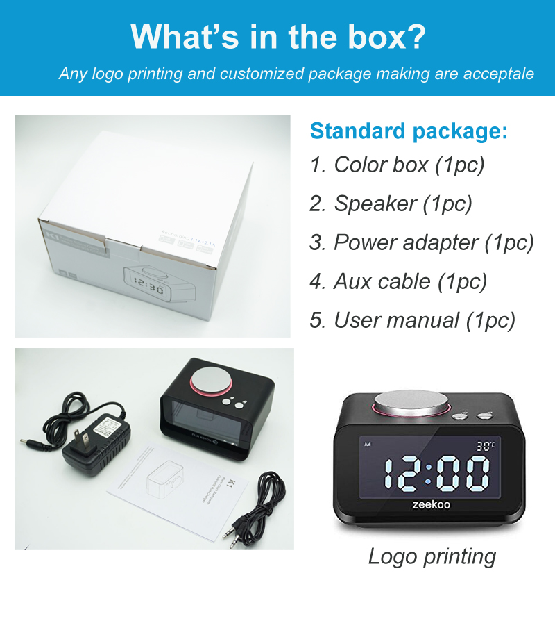 Portable Wireless Music player Bluet ooth Radio Speaker with Alarm clock, Radio, Dock Charging Station