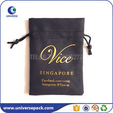 Lovely Jewelry Drawstring suede leather bags with gold stamping
