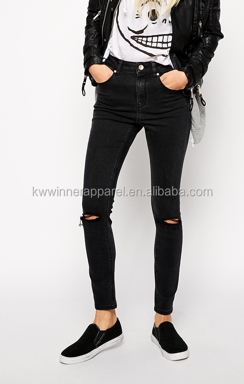 Skinny Jeans in Washed Black with Ripped Knees