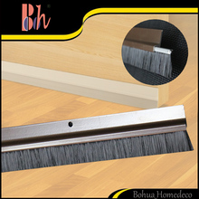 Bh Door Bottom Seals Weatherstrips Sealing Strips Brown Aluminium Alloy Profile & Black PP Brush Strip Draught Excluders Sweeper