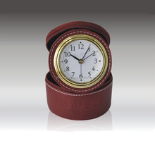 Leather Mateial Promotion Alarm Desk Clock