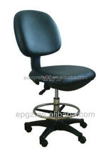 PU Leather laboratory furniture lab chair with nylon leg and chrome ring for lab room use