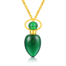 subtle energy jewelry heart chakra Anahata green agate mini gemstone bottle pendant necklace