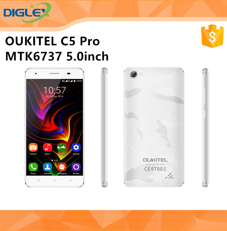 Original Oukitel C5 Pro 5.0Inch Android 6.0 MTK6737 2GB RAM 16GB ROM Two SIM Card 4G B20 Smart Phone