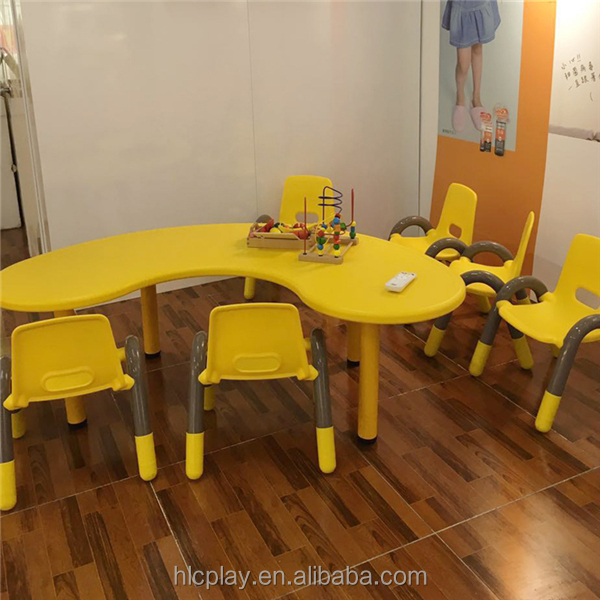 half moon shape table with chairs for kindergarten/school furniture