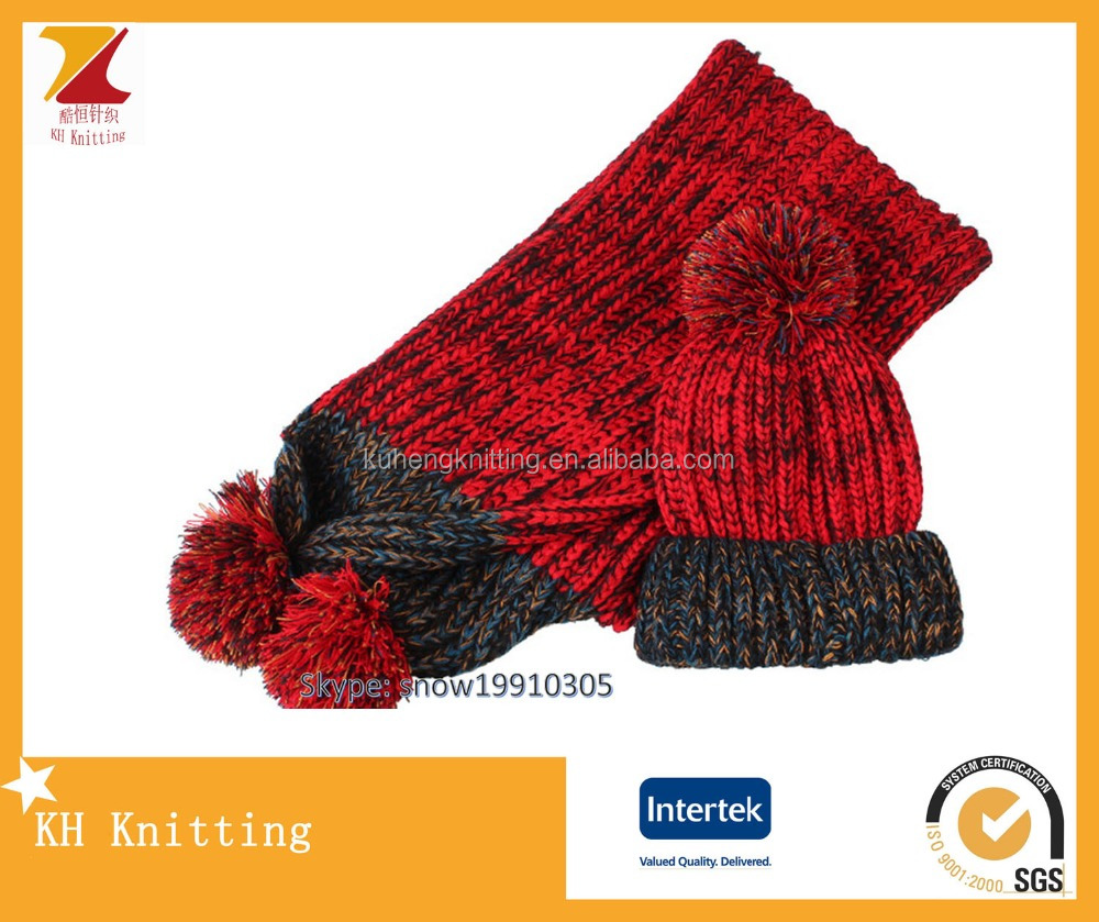 Red color christmas hat and scarf set jacquard knit style