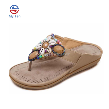 Beaded Caged Private Label for Women Rhinestone Flip-Flop Sandals