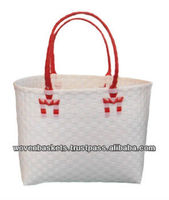 Cheap Woven Baskets Shopping weaving Bag(ATM-F14) with White or Colorful made from Plastic Straps Polypropylene pp