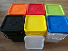 Food grade square blue plastic bucket for storage