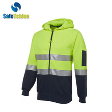 Fashionable high quality 5cm reflective tape tech fleece hoodie jacket