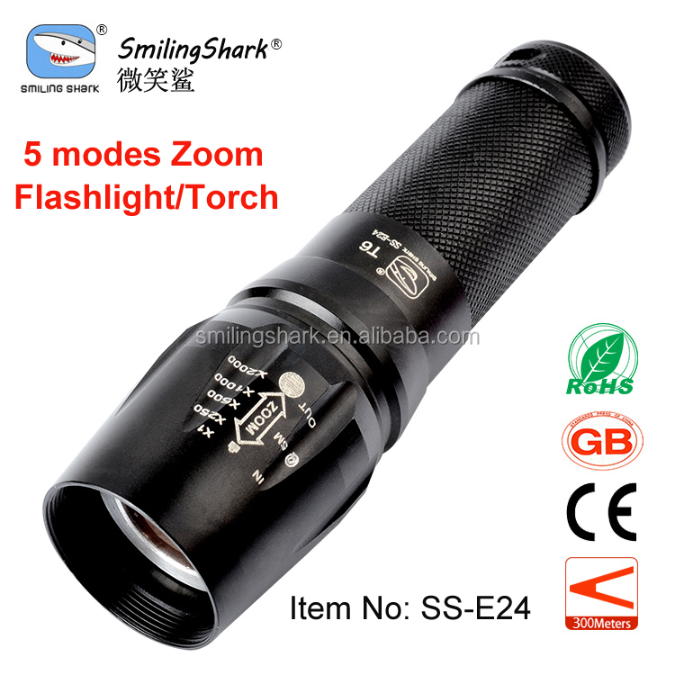 Smilingshark rechargeable led flashlight, alumunium zoomable 10W XML T6 powerful flashlight 26650 rechargeable torch
