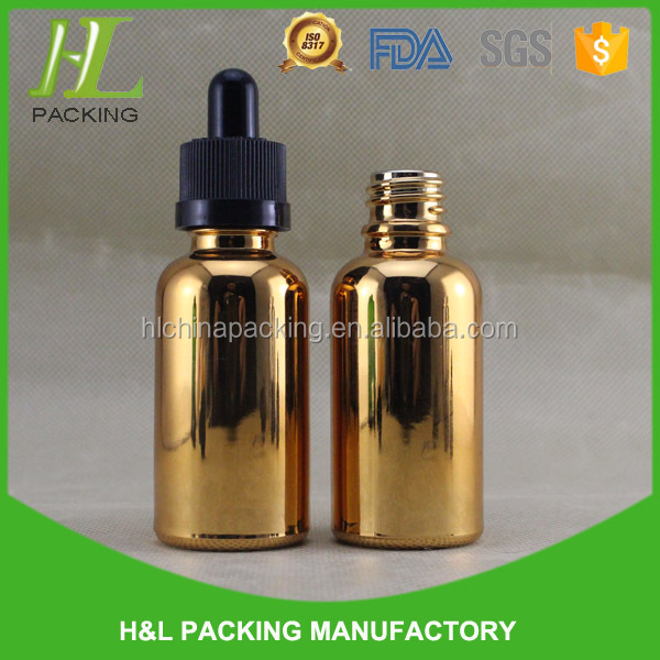 30ml e liquid childproof dropper rose gold empty glass bottle