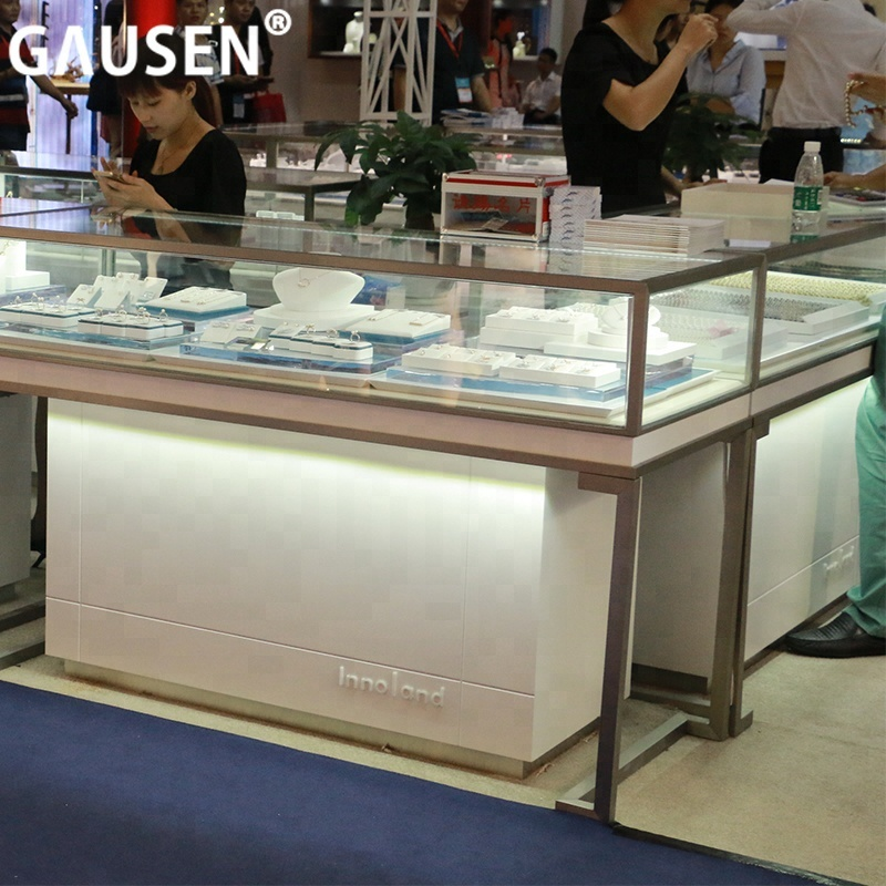 Stainless steel jewelry display cabinet and jewellery display or showcase glass display cabinet for jewelry store