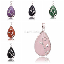 Wholesale flower pendant necklace chakra teardrop pendant