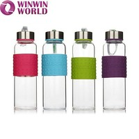 Wholesale Borosilicate Glass Water Bottle With Silicone Sleeve