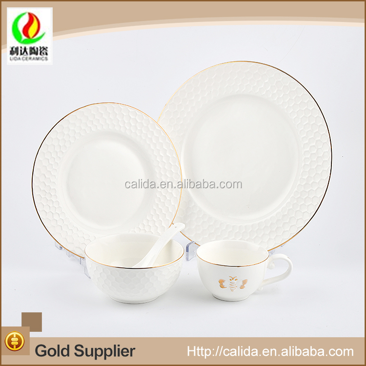 Honeycomb design plates gold rim white nice porcelain dinner set