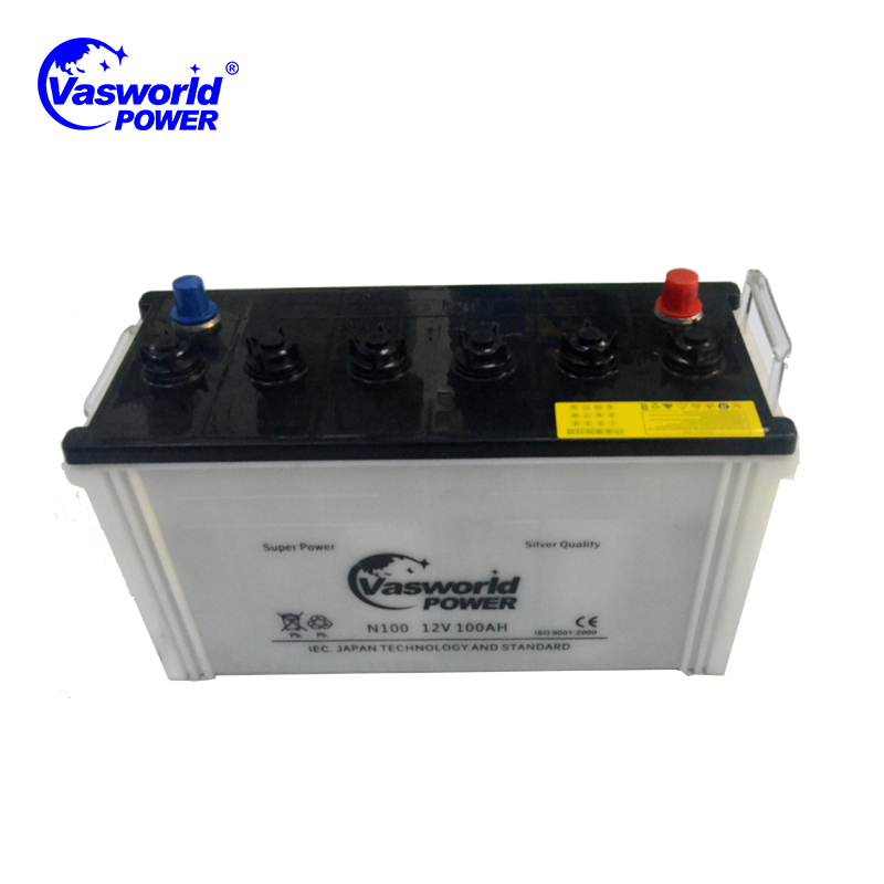 Korean Cell Type N100 12v 100ah Dry Charged Car Battery
