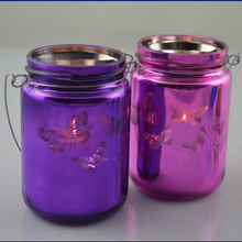 color candle jar,hanging jar,butterfly candle jar glass,Electroplate candle jar