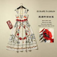 LX-NB New 2016 Summer Brand Runway Sleeveless Cute Knee-Length Print Embroidery Women Vest Dress