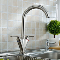 Hot China Products Wholesale Chrome Plated Brushed Dual Handles Kitchen Sink Faucets