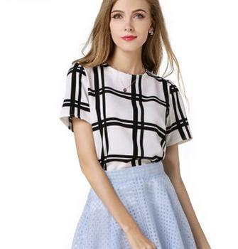 Newest ladies western woman blouse fashion short sleeve plaid top lady summer shirt