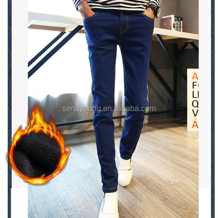 Huade High quality net edition mens skinny jeans polar fleech lined warm men jeans
