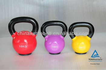 color vinyl kettlebell with rubber base